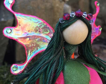 Flower Fairy, Spring Garden Spirit, Swarovski Crystal, Hand Sculpted Clay Details, Tiny Elf, Faerie Wings, Butterfly, Luna Moth, Figurine