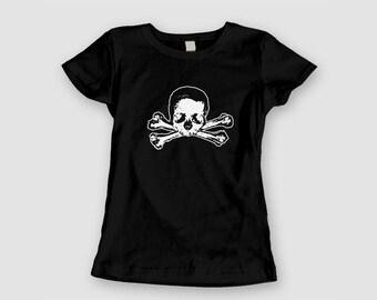 Ladies Baby Doll Tee - Skull and Bones