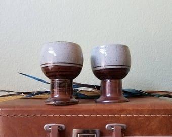 Two Handcrafted Otagiri Original Ceramic Pedestal Mugs/Coffee Mugs/Cups/Collectable