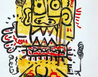 Collage, Paper, Mixed Media, Bristol Board Paper, Black Paint, Abstract, Abstract Expressionalism, Urban Artist Handmade, Artist, Basquiat