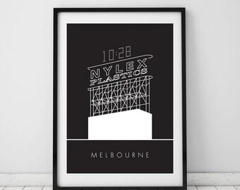 Nylex Clock, Melbourne, A4 Beautiful print, Australia, Iconic, Modern, Wall art, Digital, Room decor, Interior, Design, Unique, Art