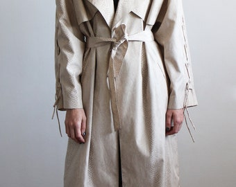 80's trench coat w lace up sleeves / 80's snakeskin trench / vintage trench coat / khaki trench coat / vintage raincoat / minimalist trench