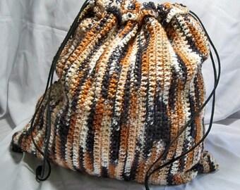 Large Chocolate Trio yarn caramel to tan handmade Superfine Merino crochet bag suede draw string L83