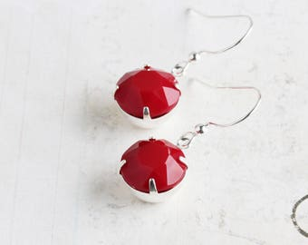 Simple Red Earrings, Round Rhinestone Earrings on Silver Plated Hooks, Opaque Red Dangle Earrings, Retro Style Jewelry