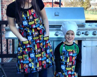 Handmade Star Wars Matching Adult and Child Size Aprons