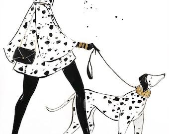 Dalmatian Dog Walker Fashion Illustration Print