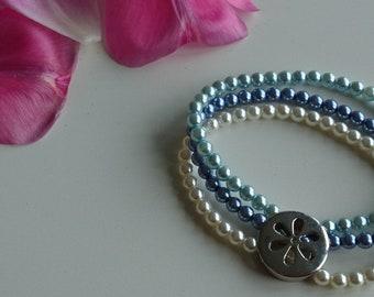 Trio flower blue bracelet