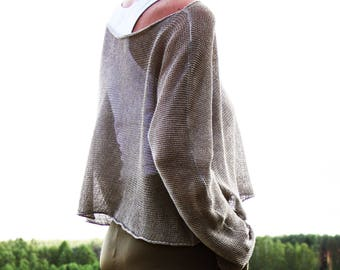 Linen Ladies knit sweater made of 100% linen nature in a casual Layerlook | Linen Knit Clothing | Natural Grey Linen Knit | Women Linen Tunic