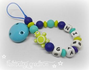 Attache tétine personnalisée tout en silicone ~ modèle tortue, cadeau de naissance, perles tortue silicone