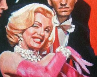 Art Print Reproduction // Vicarious Thrill // Original Acrylic Painting // Movie Art // Marilyn Monroe // 16 cm x 16 cm // Cynthia Katz