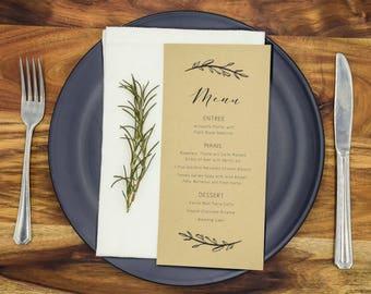 Wedding Menu Cards Rustic Menus Wedding Reception Menus Personalised (LIGHT KRAFT)