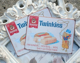 Vintage Hostess Twinkies Cards (6) Vintage Style Tags-Shabby Gift Tags-Food Gift Tags-Treat Bag Tags-Note Card-Favor Tags-Retro Gift Tags