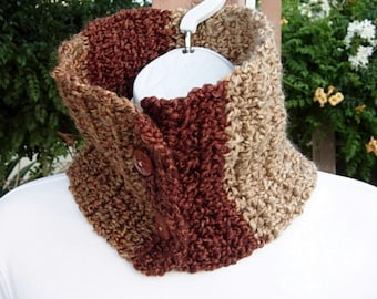 READY To SHIP OOAK Neck Warmer Scarf, Buttoned Cowl, Dark Rust Brown Gold Beige, Color Block, Soft Crochet Knit Winter Scarflette, Buttons