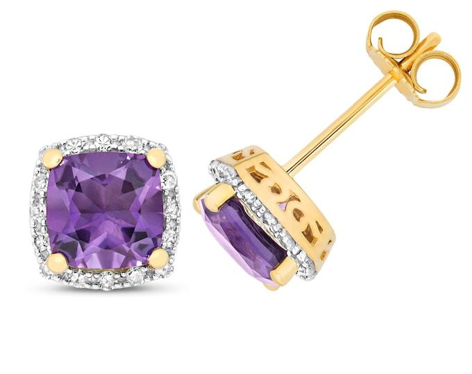 9ct Gold 0.16ct Diamond & Cushion Cut Amethyst 6mm Stud Earrings