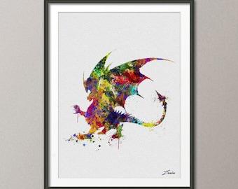 Dragon art print Dragon art Dragon poster Dragon print watercolor art print poster wall decor Dragon watercolor Dragon A134