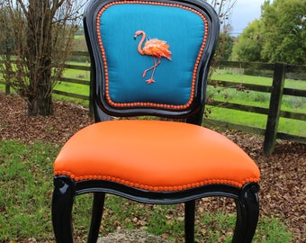 Hand embroidered Flamingo chair