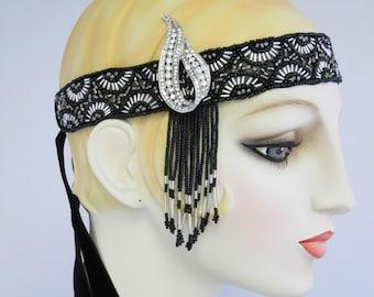 Jordan Beaded Flapper Headband Silver & Black , Flapper Headpiece, Great Gatsby, Fringe headband