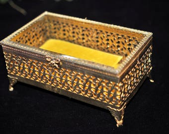 Gold Jewelry Box, Trinket Box, Great Gift Idea, #2104
