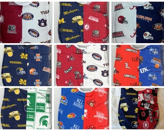 Handmade House Divided Baby Bibs made with NCAA fabric