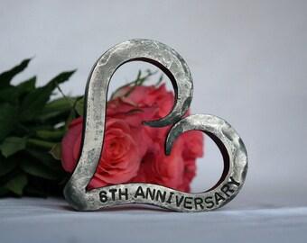 6th Anniversary Heart - Iron Anniversary - Personalized Wedding Anniversary Gift - Valentine