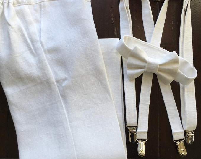 Linen Ring Bearer Outfit in WHITE, 4 Piece Set, Ring Bearer Bow tie, Suspenders, Newsboy Hat and Pants in WHITE linen.