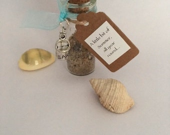 Sweet Sand Ornament with Bucket & Spade Charm Attached. Cute as a bathroom ornament. Keep summer close all year round!