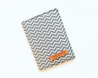 Gray Chevron Passport Cover, Chevron Passport Holder, Gray Passport Case, Personalize Passport Cover - SKPC50