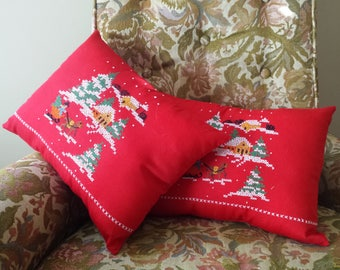 Decor Pillows - Christmas Cross Stitch - Hand Embroidered - Holiday Decor - Festive Home Decor - Winter Scene - Repurposed Vintage