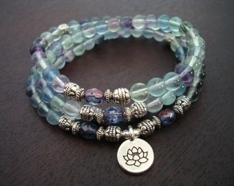 Women's Flourite Mala Necklace or Wrap Bracelet // Choose a Charm // Yoga, Buddhist, Meditation, Prayer Beads, Yoga Jewelry