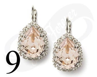 Set of 9 Earrings Champagne Earrings Silk Earrings Bridal Jewelry Bridesmaid Jewelry Leverback Earrings Rhinestone Earrings Bridesmaid Gift