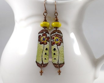 Handmade Yellow and Brown Flower Enameled Earrings, Brown and Yellow, Copper Earrings, Artisan Earrings, Flower Earrings, Long, AE016