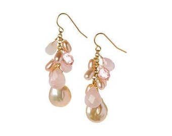 Rose Quartz and Freshwater Pearl Sterling Silver Handmade Earrings