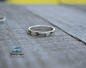 silver arrow ring - hand stamped ring - arrow ring -  hand stamped arrow ring -  sterling silver -  stacking ring