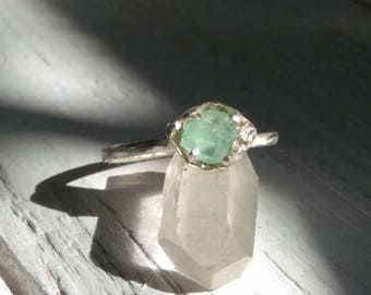 "Fine Silver Colombian Emerald Ring, ""Can be Resized"" Emerald Crystal Ring, Promise Ring"