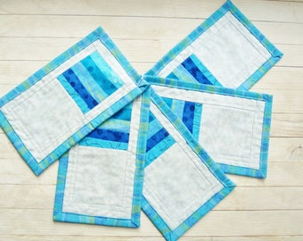 Coasters mug rugs place mat coffee drink turquoise blue gray set of 5 patchwork quilted modern rustic stripe decor hostess housewarming gift