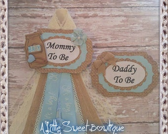 Shabby & Chic Mommy and Daddy To Be Corsage Badge Burlap Baby Blue Theme Baby Shower Corsage
