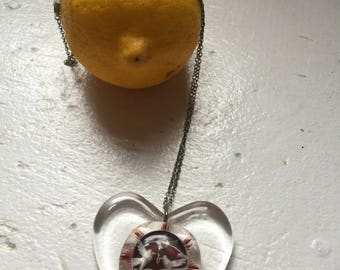 Clear Heart Doves of Peace Pendant