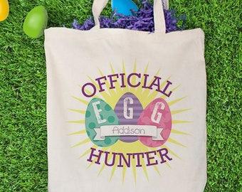 Easter Egg Tote Bag, canvas tote, easter gift, easter egg hunt, easter bunny, for kids, spring, blue, egg hunter -gfy882372-PinkPurple
