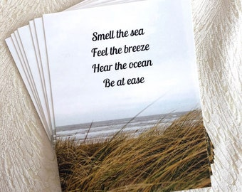 Be At Ease Postcard, Smell the Sea stationary, post card