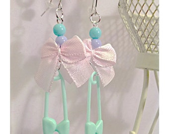 Safety Pin Earrings/Kawaii Jewelry/Safety Pin/Pastel Earrings/Fairy Kei/Pastel Goth/Baby Kei/Pastel/CHOOSE COLOR