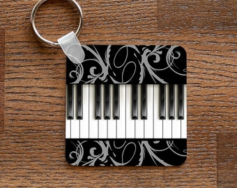 Piano Keyboard Metal Keychain for Musicians
