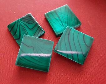 6 Pearl pucks of malachite Green Pearl 20mm Green Pearl beads, pucks of mother-of-Pearl Square, square mother of Pearl shell beads beads