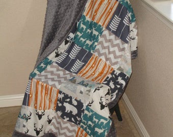 Mountain Adventure Teal Navy Orange With Border Navy Orange Gray Teal Minky Comforter  MADE TO ORDER