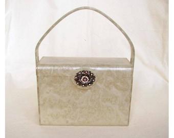 Vintage 1950s WILLARDY Lucite Box Purse Marbled Plastic with Rhinestone Clasp Handbag