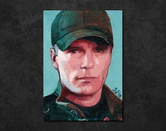 "ORIGINAL Richard Dean Anderson Oil PAINTING 2.5"" x 3.5"" ACEO. Stargate Sg-1, Jack O'Neill. McGyver. Canvas, Sketch Card, Fan Art, Atc, Psc"