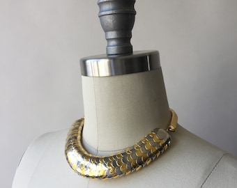 Vintage silver & gold fish scale thick choker necklace