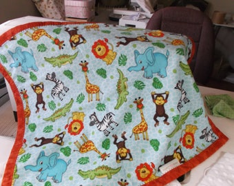 """Minky and Flannel Baby Lovey blanket  In the jungle  18"""" X 20"""""""