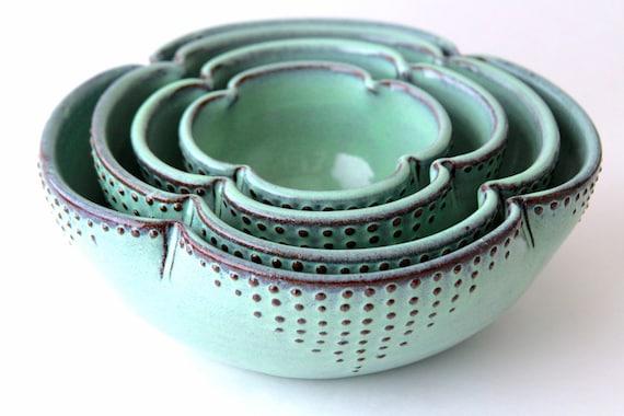 Ceramic Nesting Bowls Set of 4 Serving Dishes Rustic Aqua