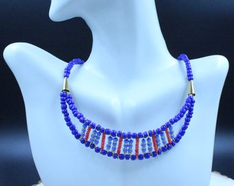 Red, Blue, and Gold Beaded Bib Necklace