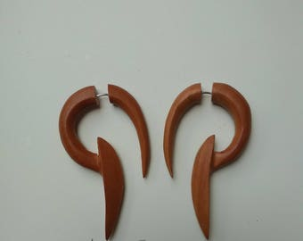 fake gauge, handmade,sawo wood, tribal style
